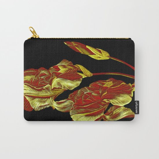 embroidered iris on black background Carry-All Pouch