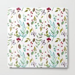 autumn winter berries watercolor pattern Metal Print