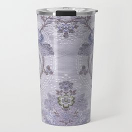 Purple Floral Pattern Art From Vintage French Taffeta Travel Mug