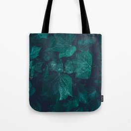 Dark emerald green ivy leaves water drops Tote Bag