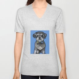 Gus the schnauzer mix Unisex V-Neck