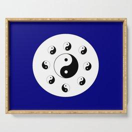 Yin and Yang 14 - Tao,Zen,Taoism,Dao,Harmony,religion,buddhism,buddhist,taijitu,taiji,taoist,china Serving Tray