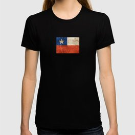 Vintage Aged and Scratched Chilean Flag T-shirt