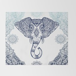 Bohemian Elephant Tribal Boho Gradient Blue Throw Blanket