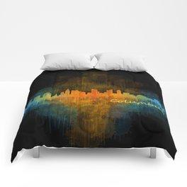 Columbus Ohio, City Skyline, watercolor  Cityscape Hq v4 Comforters