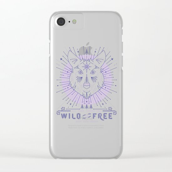 Wild & Free Wolf – Periwinkle Clear iPhone Case
