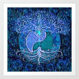 Tree of Life Yin Yang Blue Art Print