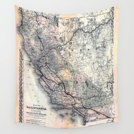 Map of California [and Nevada] 1876 Wall Tapestry