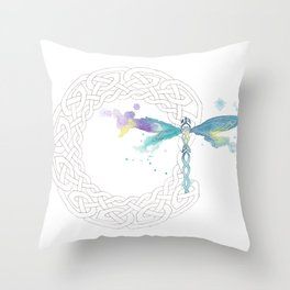 Celtic Knot Dragonfly Throw Pillow