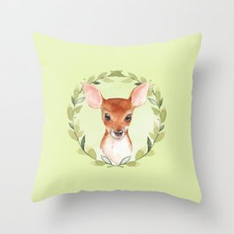 Fawn with green wreath Throw Pillow