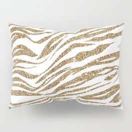 White & Glitter Animal Print Pattern Pillow Sham