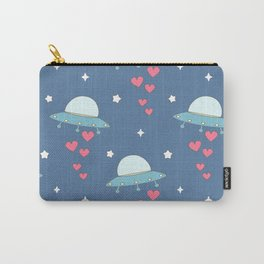 cute cartoon colorful ufo with hearts pattern Carry-All Pouch
