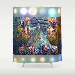 Whimsical Hippo Shower Curtain