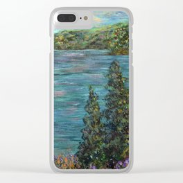 Gone Fishing, Impressionism Landscape Art Clear iPhone Case
