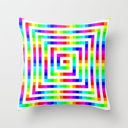 12 Color Square Spiral Throw Pillow