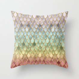 Rainbow Marble Mermaid Scales Throw Pillow