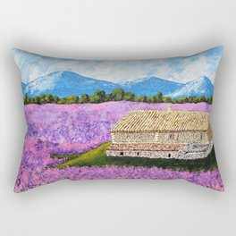 Provincial Farm by Mike Kraus - art france french house home lavender flowers europe mountains sky Rectangular Pillow