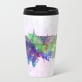 Geelong skyline in watercolor background Travel Mug