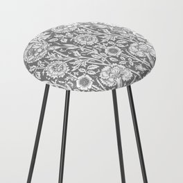 "William Morris Floral Pattern | ""Pink and Rose"" in Grey and White Counter Stool"