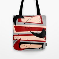 mid century modern Tote Bags featuring Mid-Century Modern Boomerangs by Kippygirl