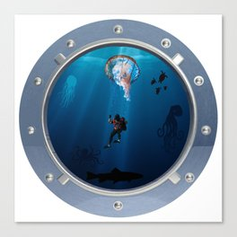 Deep Dive Parachuting Canvas Print