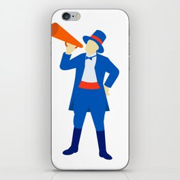 Ringmaster Shouting Bullhorn Retro iPhone Skin