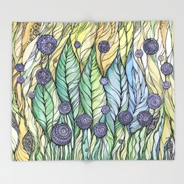 Dandelions.Hand draw  ink and pen, Watercolor, on textured paper Throw Blanket