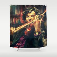 abstract Shower Curtains featuring Virtuoso by Alice X. Zhang