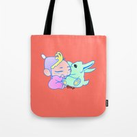 magical girl Tote Bags featuring Magical pet (Baby Girl) by Olluga