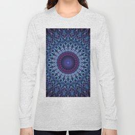 Mandala in dark and light blue tones Long Sleeve T-shirt