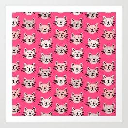 Cute cat pattern in pink Art Print