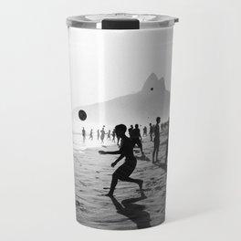 Beach Soccer at Ipanema Travel Mug