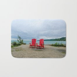 Red Chairs at Bluffers Park and Beach Bath Mat