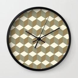 Diamond Repeating Pattern In Meerkat Brown and Grey Wall Clock