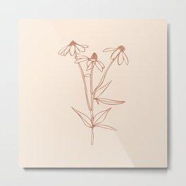 6-206-8, Burnt Orange & Cream, Floral Botanical art, Wild flower, Plant Leaves, Boho decor, Metal Print