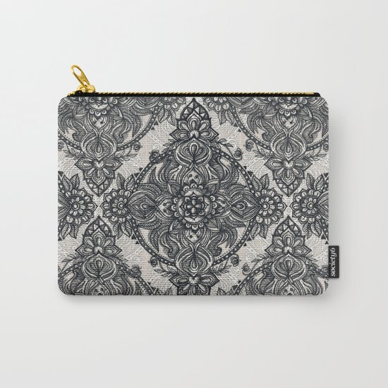 Charcoal Lace Pencil Doodle Carry-All Pouch