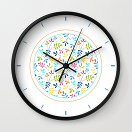 Multicolored Assorted Leaf Silhouette Pattern Wall Clock
