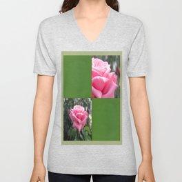 Pink Roses in Anzures 6 Blank Q5F0 Unisex V-Neck