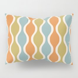Classic Retro Ogee Pattern 842 Orange Blue and Olive Pillow Sham