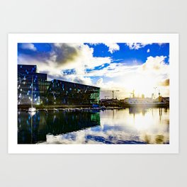 Arctic Circle Sunset Behind a Ship on the Sea behind the Harpa Concert Hall in Reykjavik, Iceland Art Print