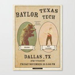 Bear Kunckle - Baylor vs TTU 11.25.16 Canvas Print
