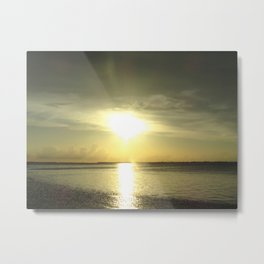 Green Sunset Metal Print