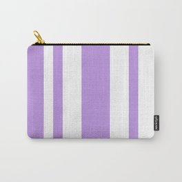 Mixed Vertical Stripes - White and Light Violet Carry-All Pouch