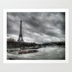 The Eiffel Tower and the Seine - Paris cityscape - hdr Art Print