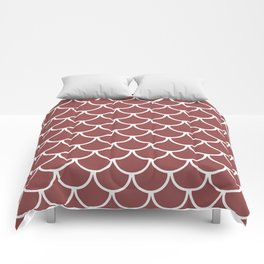 Rustic Red Fish Scales Pattern Comforters