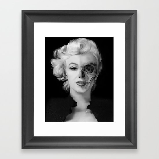 Dead celebrities series half skull framed art print by for Black and white celebrity prints