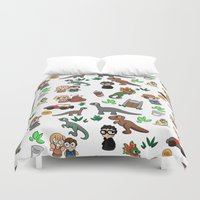jurassic park Duvet Covers featuring Jurassic Park Bits by Lacey Simpson