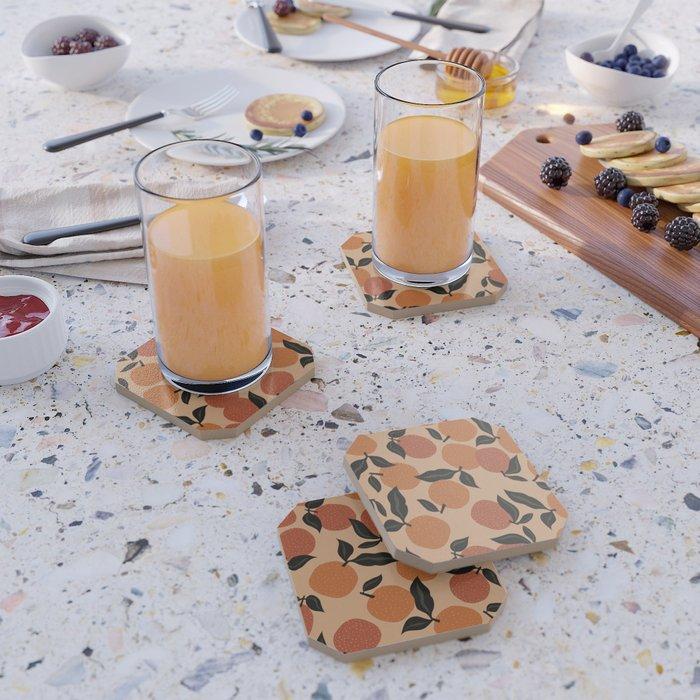 Seamless Citrus Pattern / Oranges Coaster