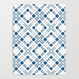 Blue and white geometric pattern . Poster
