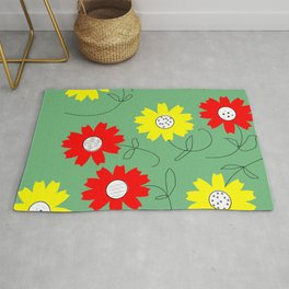red and yellow coreopsis Rug